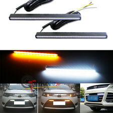 Ultra Slim Switchback White/Amber Lights LED Daytime Running Fog Lamps DRL Kit
