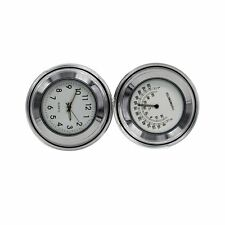 7/8'' 1'' Motorcycle Parts Bike Handlebar Mount Whtie Dial Clock & Thermometer