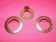 Lot of 3 Vintage Gold Plated Ring Style Pins Brooches