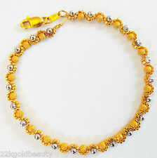 "GOLDSHINE Bracelet 22K 916 Solid Yellow White Gold Chain Lobster Claw 7.5"" NEW"