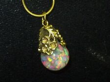 FIERY  FLOATING OPALS SNOW GLOBE  PENDANT NECKLACE