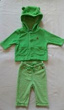 NWT BABY GAP BOY'S PARROTFISH GREEN TERRY HOODIE & STRIPE TERRY PANTS (0-3 M)
