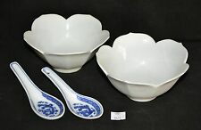 ThriftCHI ~ Ceramic Lotus Flower Shaped Bowls & Asian Soup Spoons