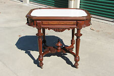 Superb Large Walnut Victorian Picture Frame Marble Top Library Table ~Ca.1870
