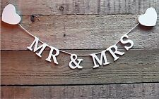 Mr & and Mrs Garland Bunting Banner Wedding Decoration Wooden