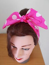 HEAD SCARF HAIR BAND PINK BIG POLKA DOT BUNNY SELF TIE BOW ROCKABILLY PIN UP