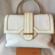 "TOD'S White Calfskin Leather ""Passante Patta Media"" Flap Shoulder Bag~Italy~NWOT"