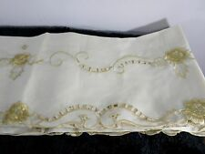 New Ecru-Gold Lazer Cut Lace & Embroidery Floral Linen Tablecloth w Tassels NIP