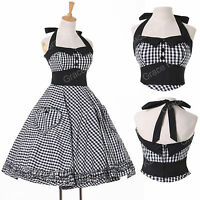 HOUSEWIFE 50'S RETRO VINTAGE STYLE SWING HALTER DRESS PLUS SIZE XS-XL