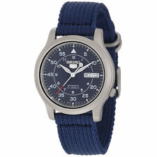 Seiko SNK807 5 Men's Blue Canvas Strap Blue Dial Automatic Day Date Steel Watch