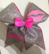 GLITTER CHEER BOW CHEERLEADING YOUR   NAME ADDED TO THE BOW FOR FREE