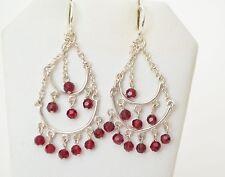 Sterling Silver Red Ruby Topaz Double Hoops Dangle Hook Earrings