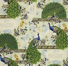 MOONLIGHT PEACOCK ~ Peacocks ~ Paris Script ~  Gold Metallic ~ Fabric~ 1/2 Yard
