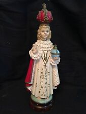 Vintage Wooden Catholic Infant Of Prague Statue JESUS 12""