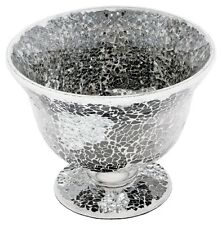 Beautiful Mirrored Silver Mosaic Crackle Glass Bowl