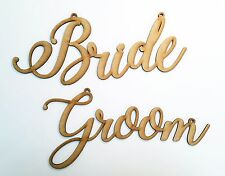 Boda novia y el novio silla apoyos de madera corte láser Colgante Signos