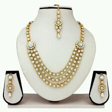 Indian Bollywood Gold Plated Studded Diamond & kundan Necklace Jewellery Set