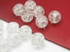 15 Tschechische CRASHPERLEN Crackle Glasperlen 10mm Crystal Klar Kugel Rund A262