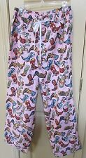Womans Cowboy Pajama Pants Pink With Boots Size L Made in Texas