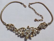 VINTAGE CORO SIGNED CLEAR RHINESTONE FLOWER NECKLACE