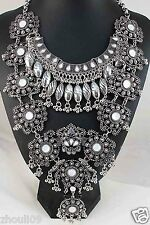 handmade woman Statement crystal chunky charm pendant chain coin necklace q1016