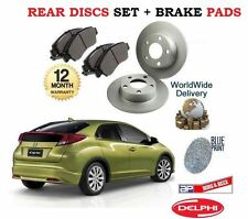 FOR HONDA CIVIC VTEC DTEC TD 2012-- NEW REAR BRAKE DISCS SET + PADS KIT