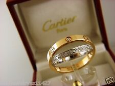 CARTIER LOVE RING SOLID 18K ROSE AND WHITE GOLD WITH DIAMONDS Sz EUR 62/ US10