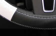 "New 14.5"" Black & White Steering Wheel Cover PVC Leather 58014 Sedan Coupe"