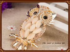 beautifull black eyed multi tone gold plated  owl brooch gift boxed.
