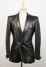 New. VERSACE MAINLINE COUTURE Black Leather Jacket Size 48/38 R $3350
