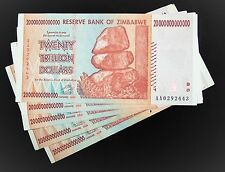 5 x Zimbabwe 20 trillion dollar banknotes-paper money currency