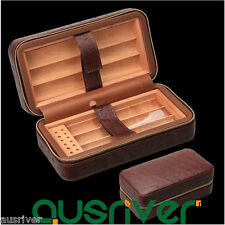 Portable 6 Count Retro Leather Wooden Cigar Box Case Humidor Xmas Men Gift Box