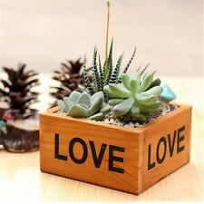 Rustic Natural Wooden Succulent Plant Flower Bed Pot Box Case Garden Planter