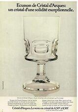 Publicité Advertising 1975 Cristal d'Arque Verre modèle Ecusson