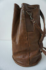 "Vintage 1970's Brown Heavy Duty Leather Unisex Backpack ""Thore Canyon"""