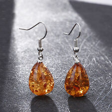 Woman Genuine Baltic Amber Silver Water Drop Long Earrings Jewelry Gift