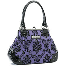 Women's GG Rose Violet Vixen Mistress Kisslock Handbag Filigree Damask Victorian