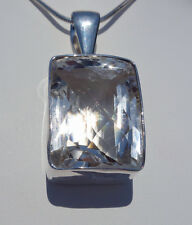 Our Finest CLEAR QUARTZ Faceted Crystal Custom Sterling Silver Pendant Healing