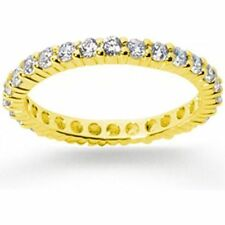 0.90 ct total ROUND DIAMOND RING ETERNITY BAND 14k Yellow Gold, F VS, SIZE 4.5 #