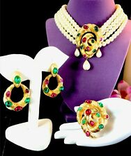 CROWN TRIFARI CABOCHON MOGHUL INDIA COILED SNAKE NECKLACE BROOCH EARRINGS SET
