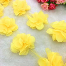 New Hot 1 Yard Yellow Flower Chiffon Wedding Dress Bridal Fabric Lace Trim