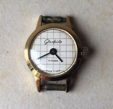 Vintage Collectible 17 Rubis Womans Glashutte GDR Wristwatch Working Gold Plated