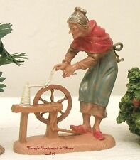 """FONTANINI DEPOSE ITALY EARLY 4"""" OLD LADY SPINNING NATIVITY VILLAGE FIGURE NEW"""