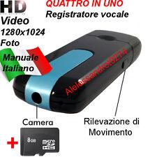 MICROSPIA PENDRIVE SENSORE MOVIMENTO U8 VIDEOCAMERA REGISTRATORE SPY MICROSD 8GB