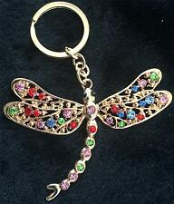 STUNNING MULTICOLOURED RHINESTONE DRAGONFLY KEYRING/BAG CHARM IN GIFT BAG