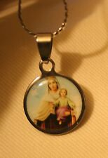 Lovely Small Round Stainless Steel Our Lady of Rosary Of Carmel Medal Necklace
