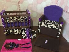 Barbie Or Monster High.Baby Nursery Set furniture crib & sofa & Carrier.Clawdeen