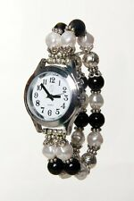 Ladies Spanish Talking Watch Silver Tone with Deluxe Black & White Beaded Band