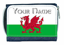WALES WELSH DRAGON FLAG PERSONALISED DENIM PURSE / MINI WALLET *NAMED GIFT*