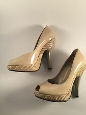 Burberry Open Toe Patent Leather Platform Studded Heels in Beige- size 6/36